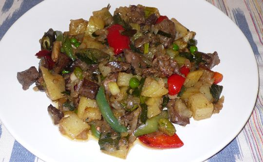 """Frit Mallorquí"" of lamb, typical Majorcan dish, can be taken as a tapa or as a dish. Mallorcan recipes"