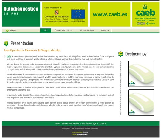 CAEB presents www.autodiagnosticoprl.es, website designed by Más Mallorca