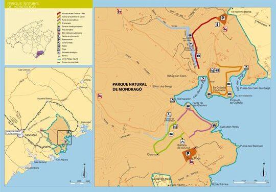 Mapa de Mondragó, Parque Natural y fotos de Sa Barca Trencada, Caló des Borgit, Estanque y Playa de sa Font de n'Alis, Calo d'en Garrot y s'Amarador
