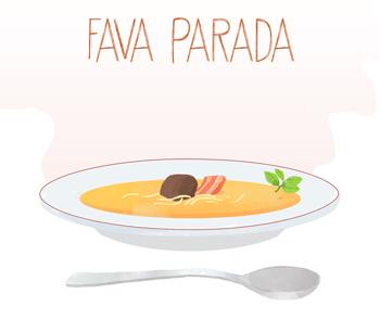 Fava Parada - Cremesuppe aus Ackerbohnen mit Nudeln